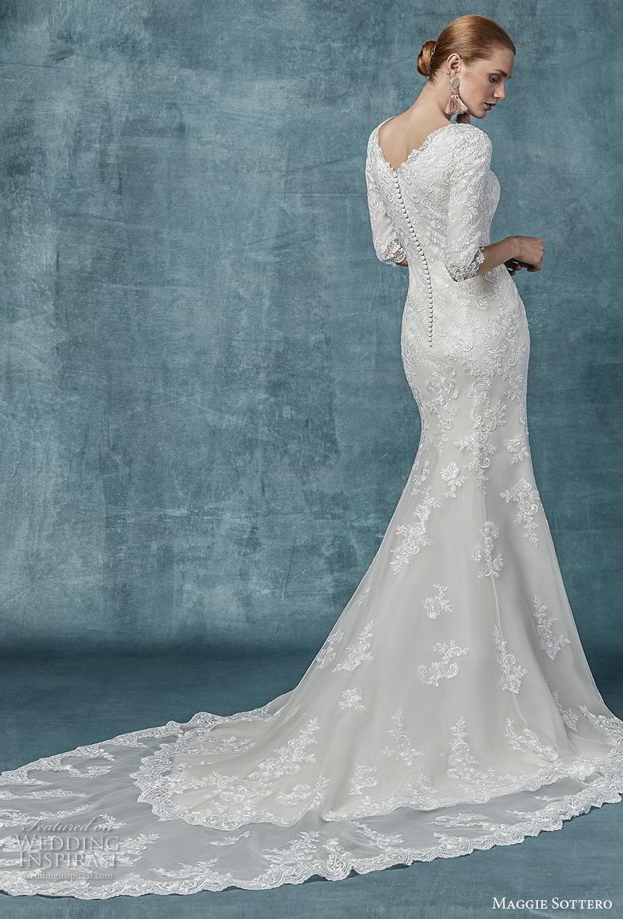 maggie sottero spring 2019 bridal three quarter sleeves jewel neckline full embellishment elegant modest fit and flare wedding dress covered back chapel train (6) bv