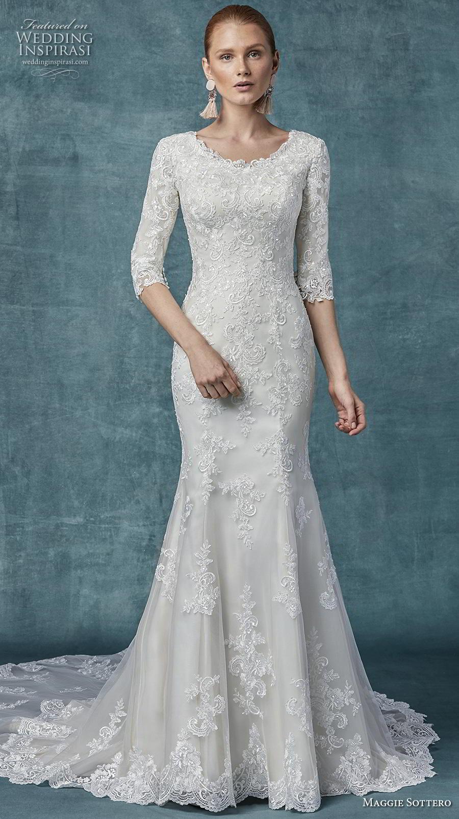 maggie sottero spring 2019 bridal three quarter sleeves jewel neckline full embellishment elegant modest fit and flare wedding dress covered back chapel train (6) mv