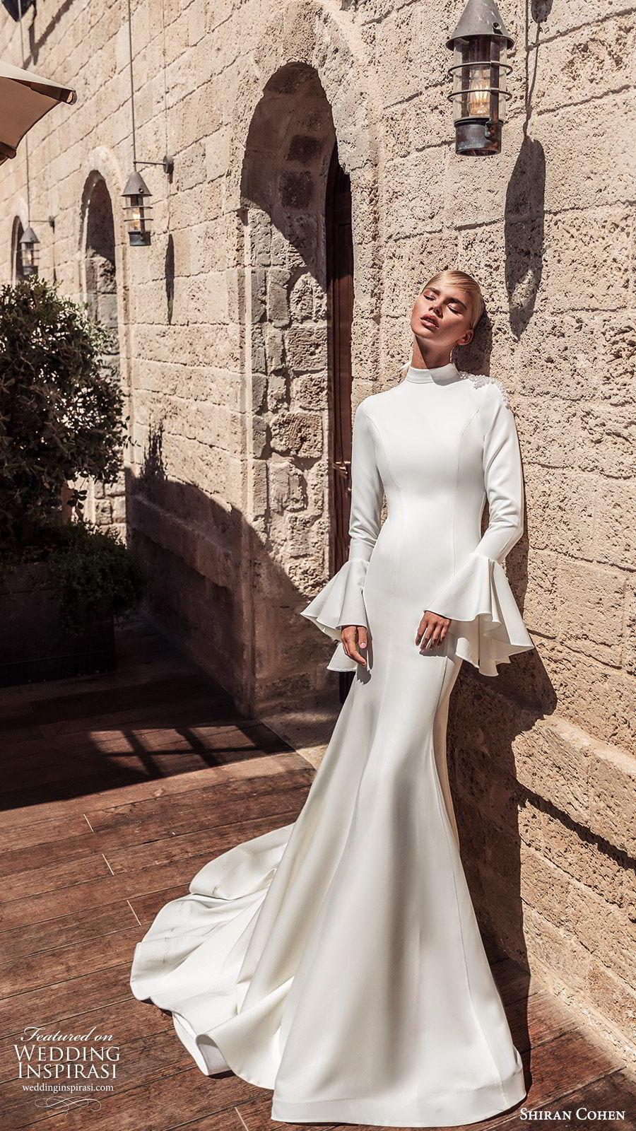 shiran cohen 2019 bridal bell long sleeves high neckline fit flare mermaid wedding dress chapel train clean elegant modern (9) mv