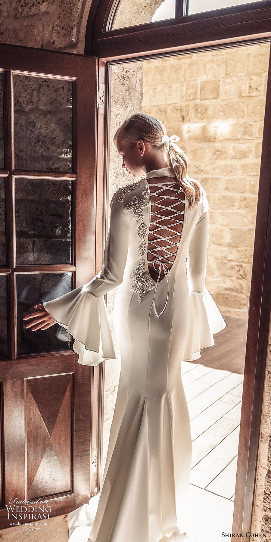shiran cohen 2019 bridal bell long sleeves high neckline fit flare mermaid wedding dress lace up back chapel train clean elegant modern (9) mv