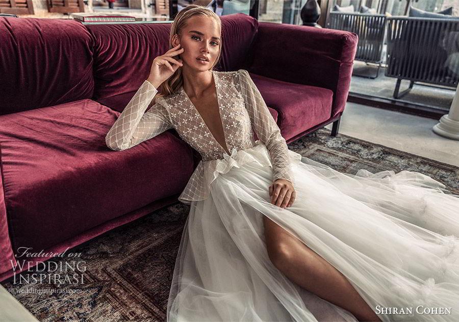 shiran cohen 2019 bridal illusion long sleeves plunging v neckline embellished bodice peplum a line wedding dress ruffle skirt romantic  (10) mv
