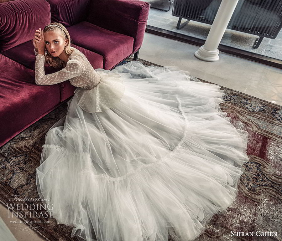 shiran cohen 2019 bridal illusion long sleeves plunging v neckline embellished bodice peplum a line wedding dress ruffle skirt romantic  (10) sdv