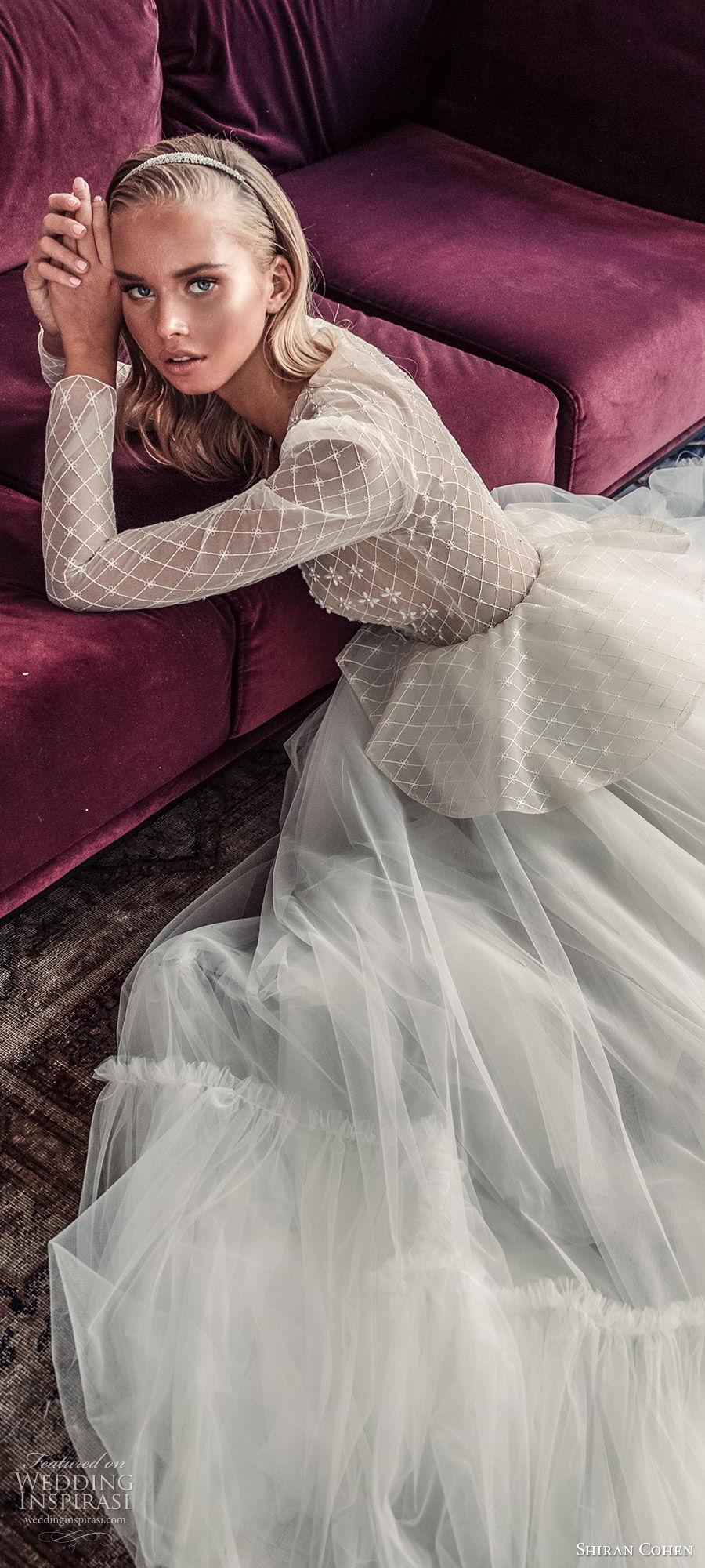shiran cohen 2019 bridal illusion long sleeves plunging v neckline embellished bodice peplum a line wedding dress ruffle skirt romantic  (10) zsdv