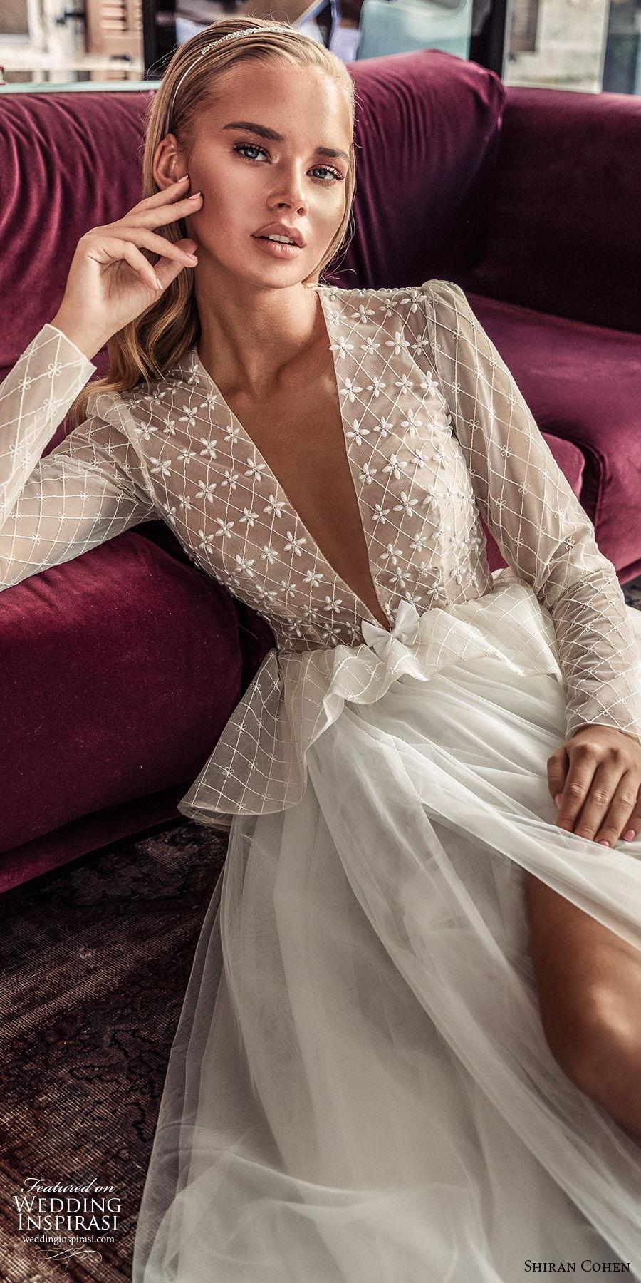 shiran cohen 2019 bridal illusion long sleeves plunging v neckline embellished bodice peplum a line wedding dress ruffle skirt romantic  (10) zv