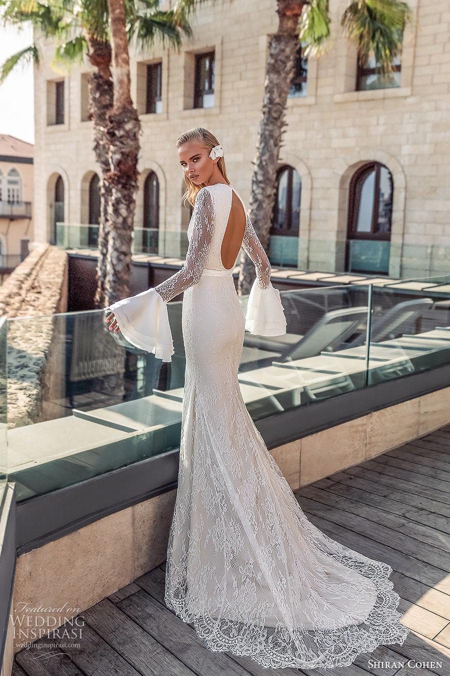 shiran cohen 2019 bridal long bell sleeves high neckline cutout bodice lace sheath trumpet wedding dress chapel train open back slit skirt sexy modern (3) bv
