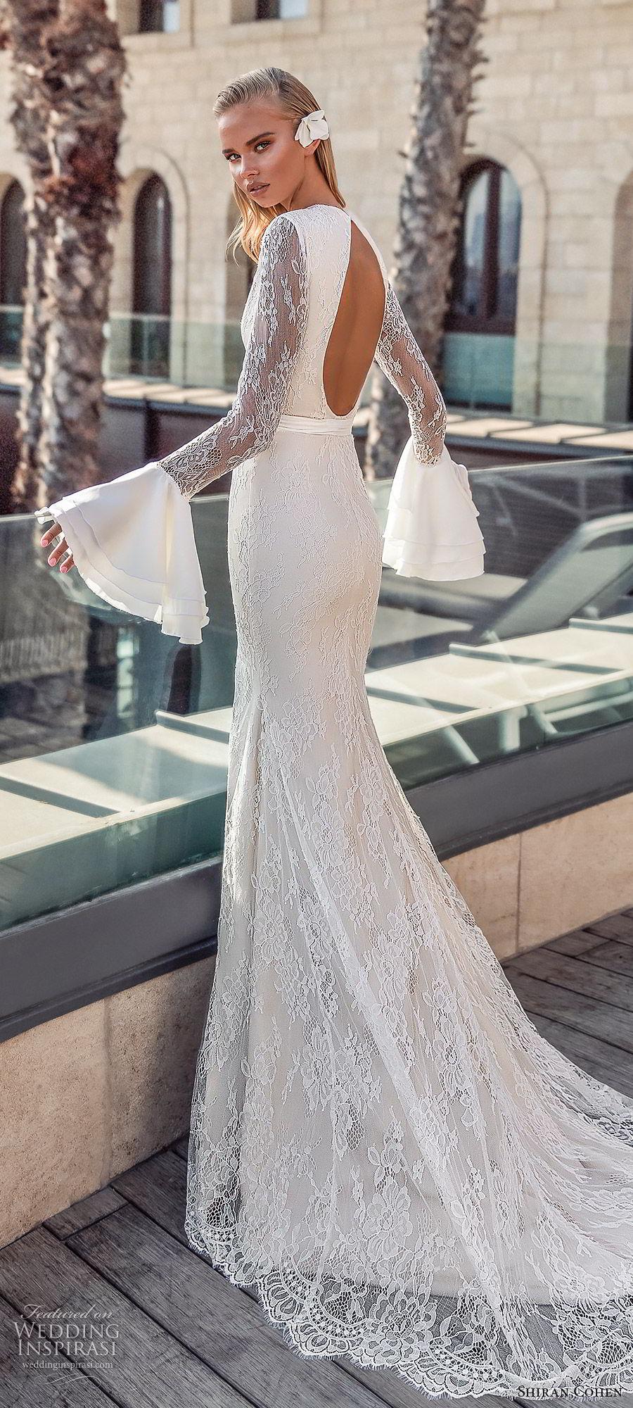 shiran cohen 2019 bridal long bell sleeves high neckline cutout bodice lace sheath trumpet wedding dress chapel train open back slit skirt sexy modern (3) zbv