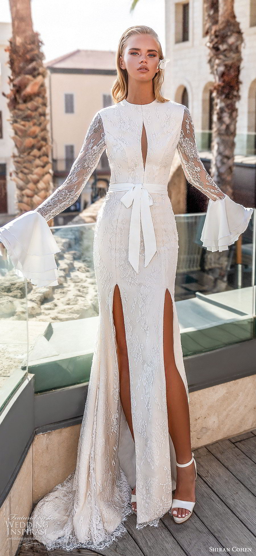 shiran cohen 2019 bridal long bell sleeves high neckline cutout bodice lace sheath trumpet wedding dress slit skirt sexy modern (3) lv