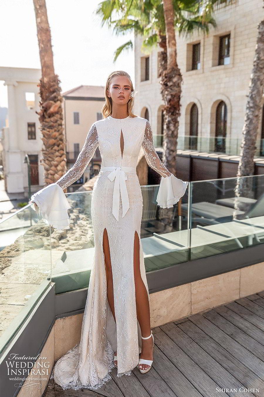 shiran cohen 2019 bridal long bell sleeves high neckline cutout bodice lace sheath trumpet wedding dress slit skirt sexy modern (3) mv