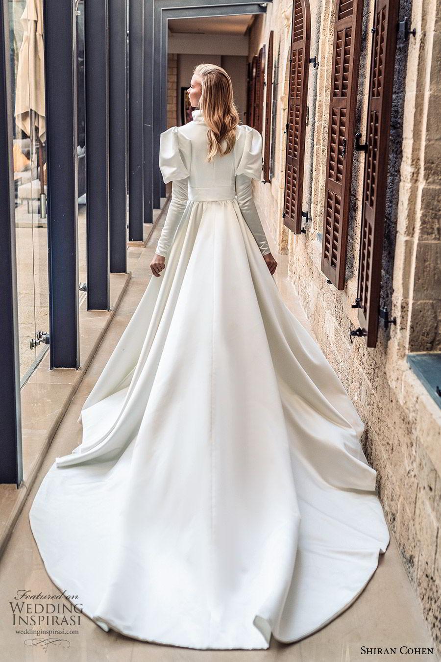 shiran cohen 2019 bridal mutton sleeves plunging v neckline collar belt a line ball gown wedding dress chapel train romantic princess clean modern (5) bv