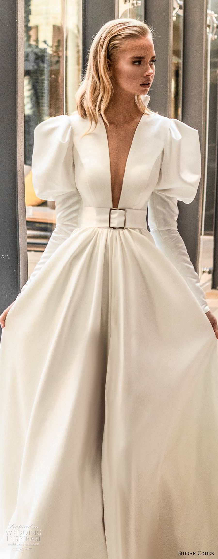 shiran cohen 2019 bridal mutton sleeves plunging v neckline collar belt a line ball gown wedding dress chapel train romantic princess clean modern (5) lv