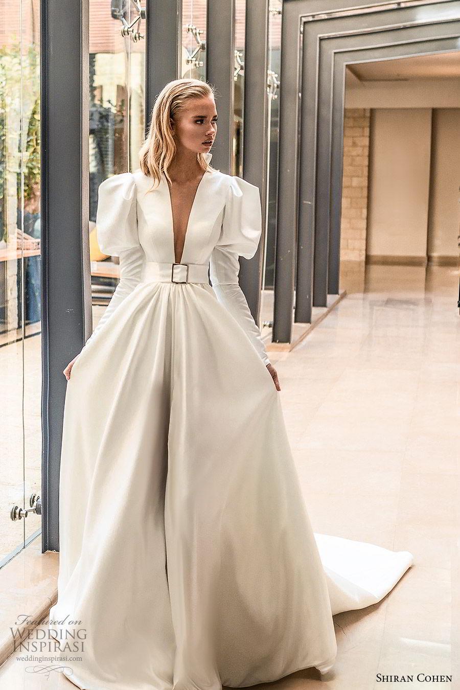 shiran cohen 2019 bridal mutton sleeves plunging v neckline collar belt a line ball gown wedding dress chapel train romantic princess clean modern (5) mv