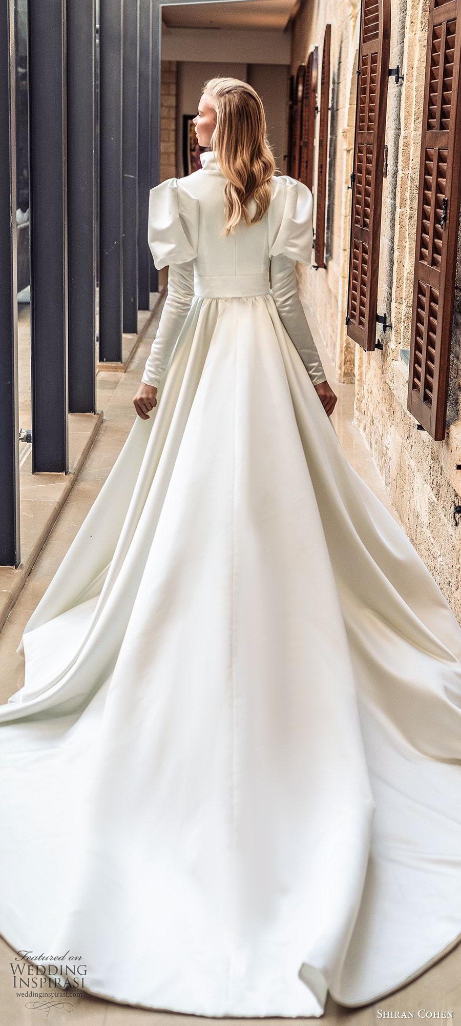 shiran cohen 2019 bridal mutton sleeves plunging v neckline collar belt a line ball gown wedding dress chapel train romantic princess clean modern (5) zbv
