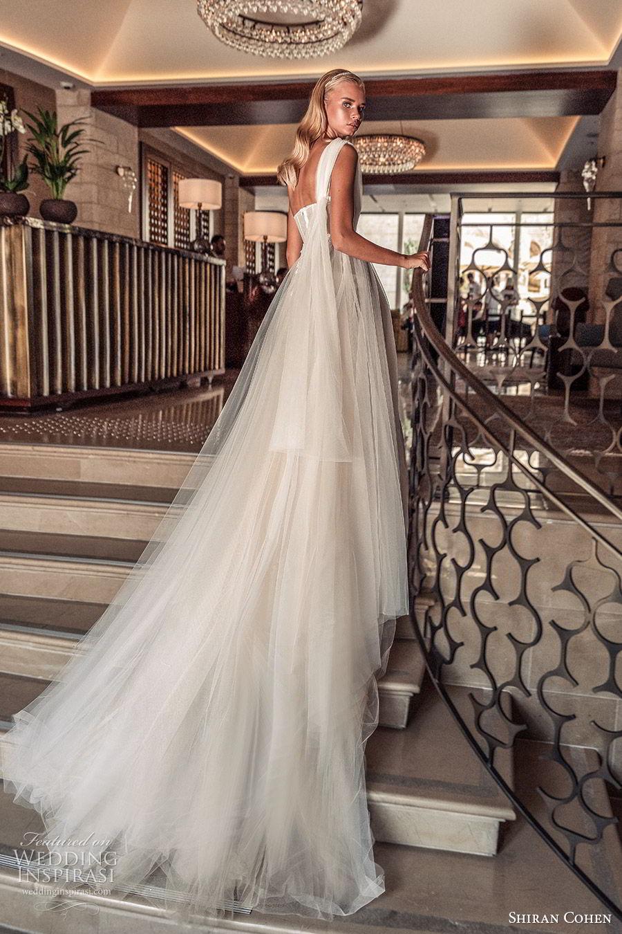 shiran cohen 2019 bridal one shoulder strap straight across embellished bodice a line ball gown wedding dress chapel train romantic elegant (11) bv
