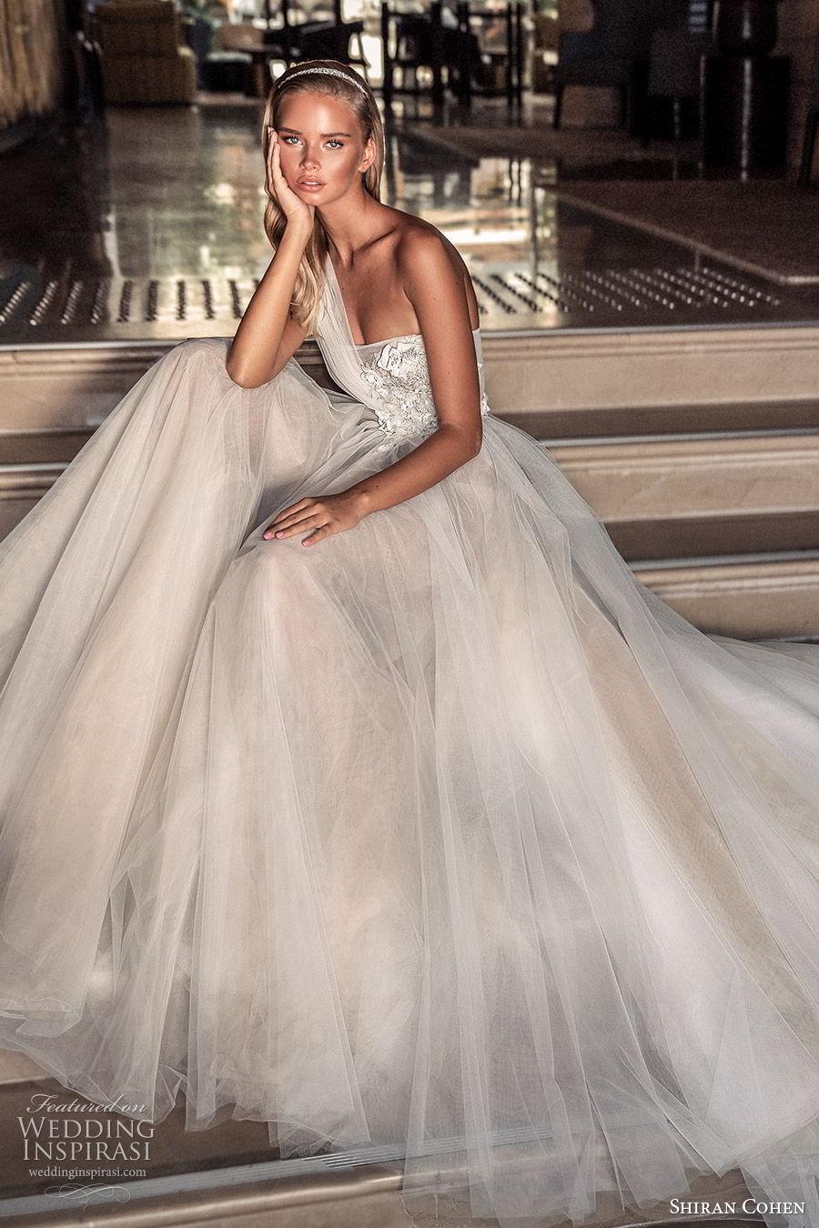 shiran cohen 2019 bridal one shoulder strap straight across embellished bodice a line ball gown wedding dress romantic elegant (11) mv