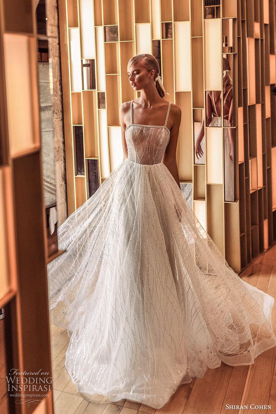 shiran cohen 2019 bridal sleeveless beaded straps fully embellished a line ball gown wedding dress glitzy romantic princess (8) mv