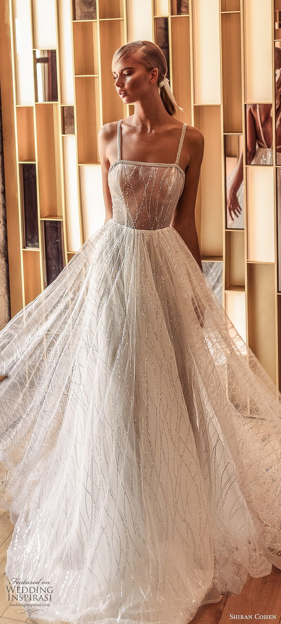 shiran cohen 2019 bridal sleeveless beaded straps fully embellished a line ball gown wedding dress glitzy romantic princess (8) zv