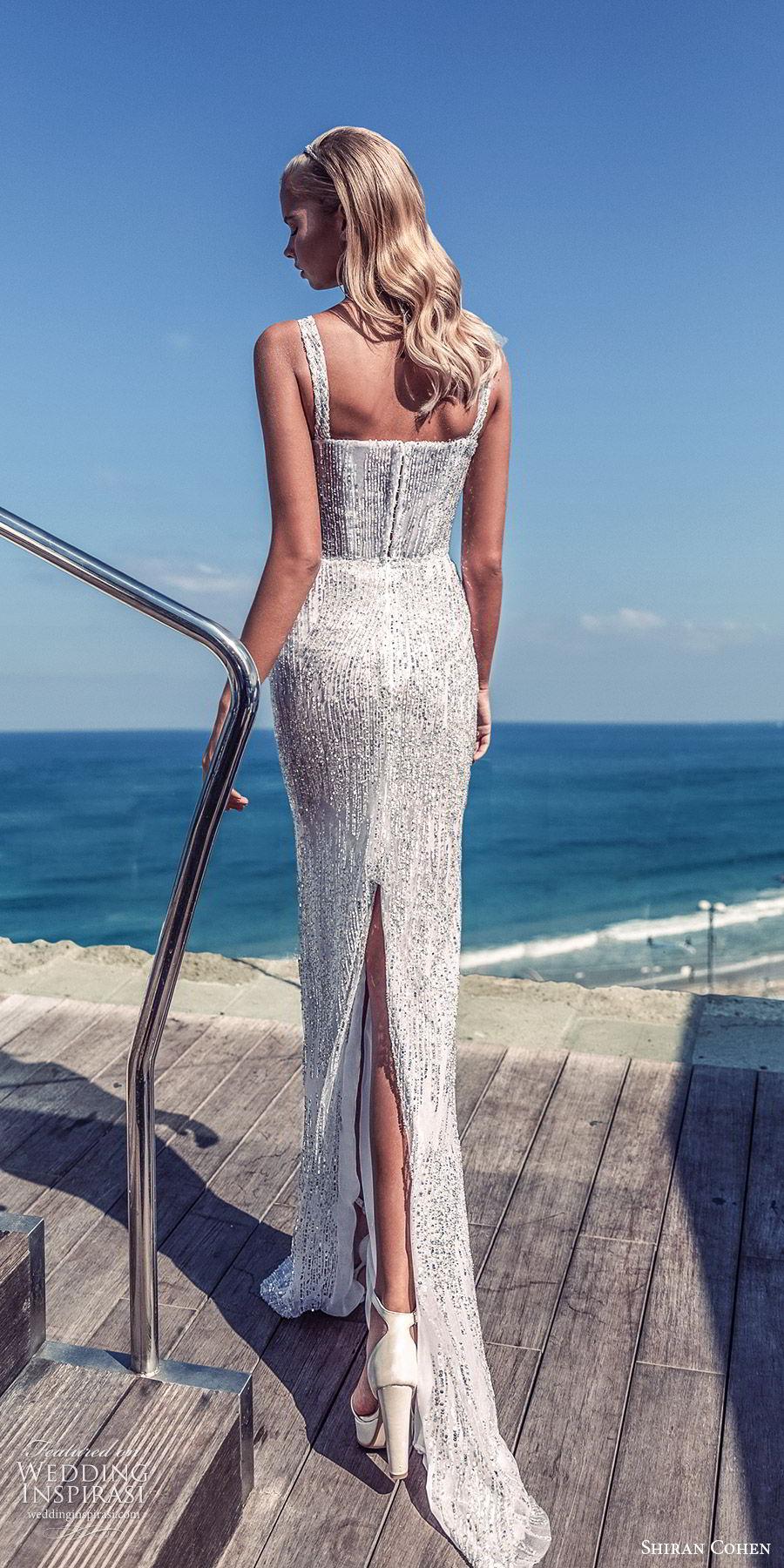 shiran cohen 2019 bridal sleeveless straight across thick straps fully embellished sheath wedding dress sweep train glitzy glam  (1) bv
