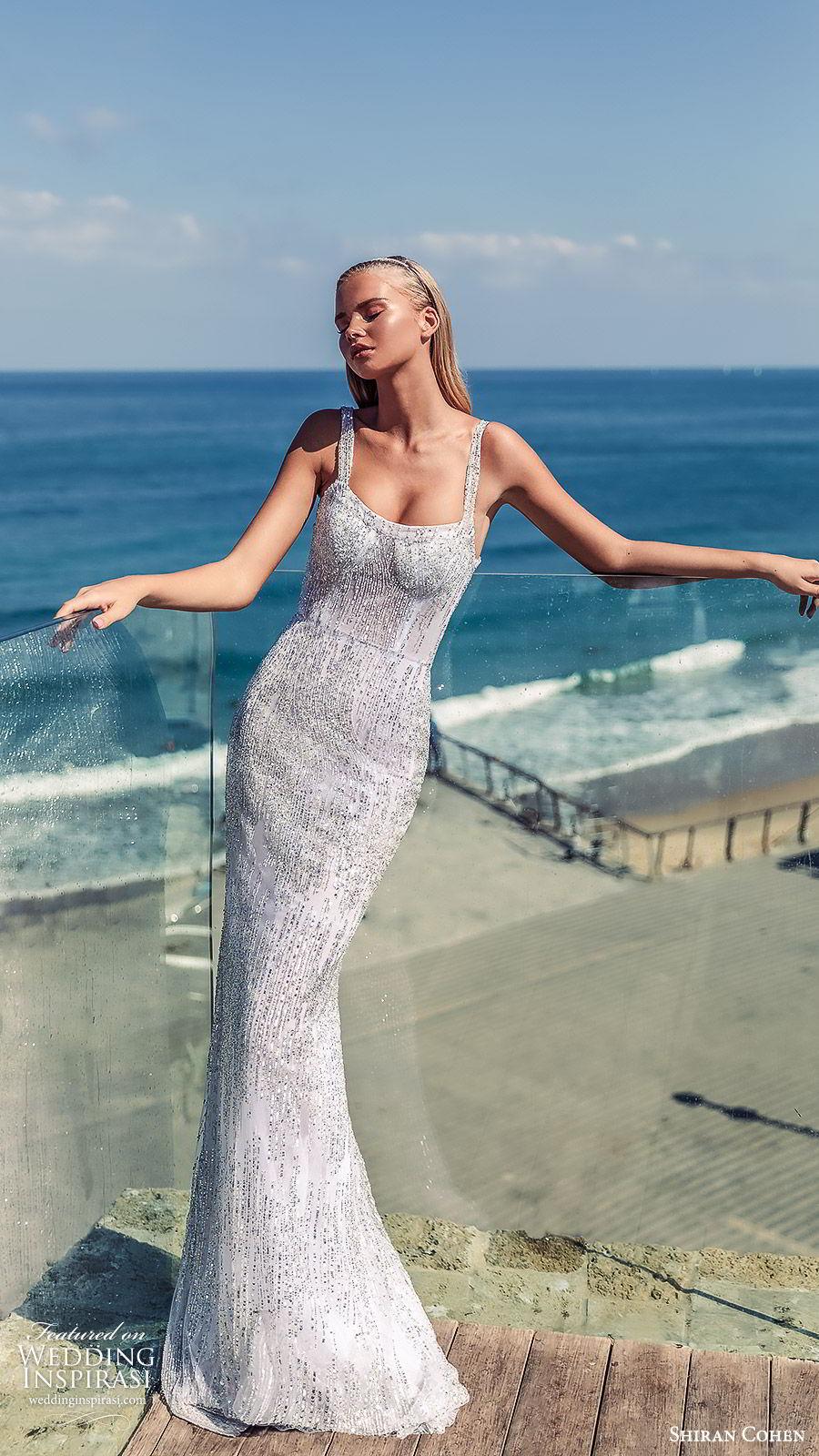 shiran cohen 2019 bridal sleeveless straight across thick straps fully embellished sheath wedding dress sweep train glitzy glam  (1) mv