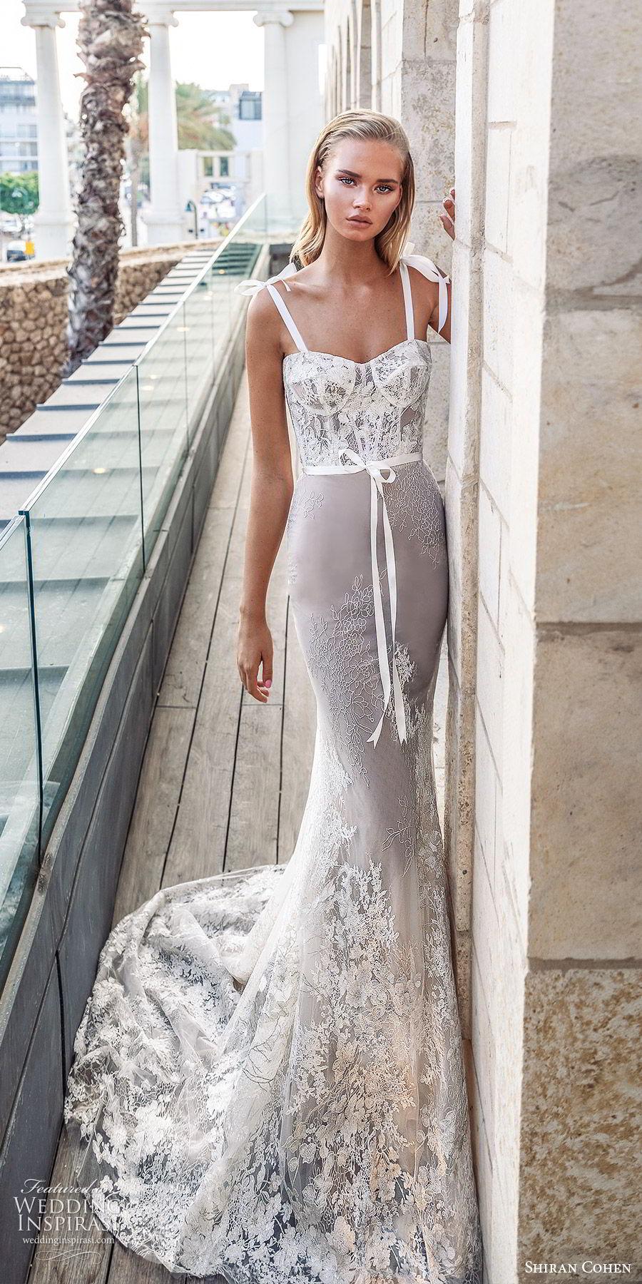 shiran cohen 2019 bridal sleeveless thick straps semi sweetheart neckline corset lace bodice sheath mermaid wedding dress chapel train romantic elegant (2) mv