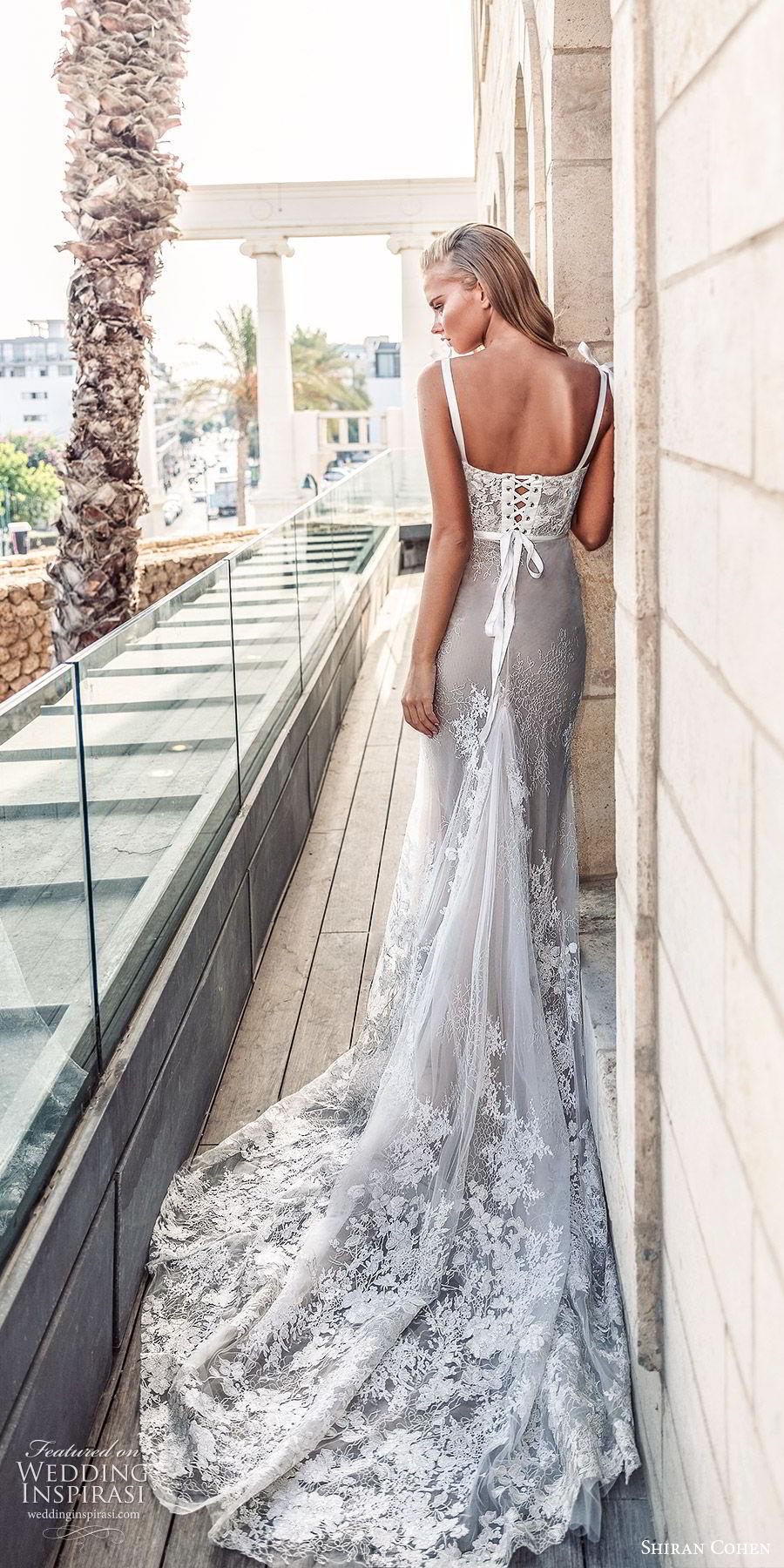 shiran cohen 2019 bridal sleeveless thick straps semi sweetheart neckline lace bodice sheath mermaid wedding dress chapel train corset back romantic elegant (2) bv