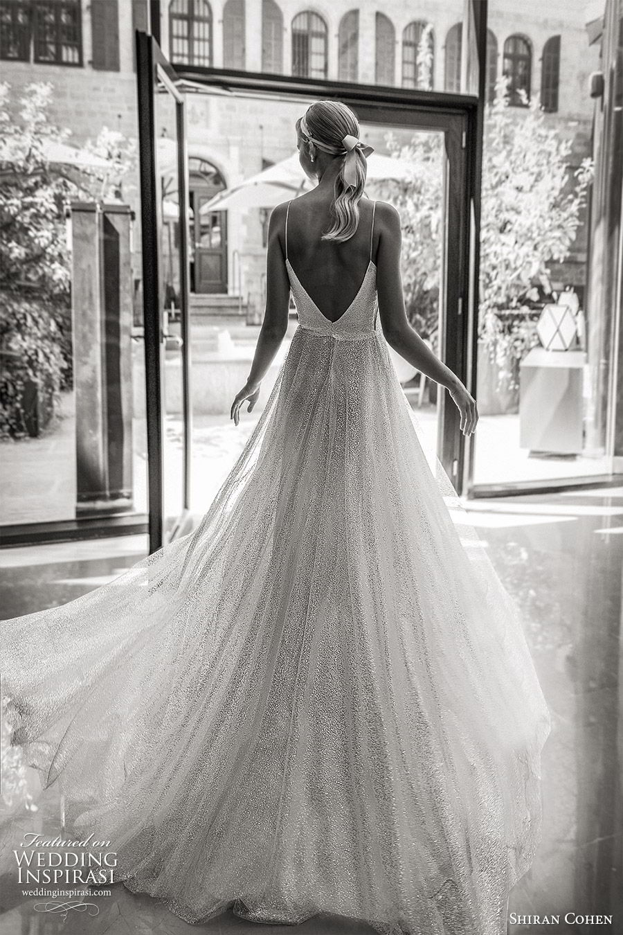 shiran cohen 2019 bridal sleeveless thin straps sweetheart plunging neckline fully embellished a line wedding dress low back romantic glitzy (7) bv