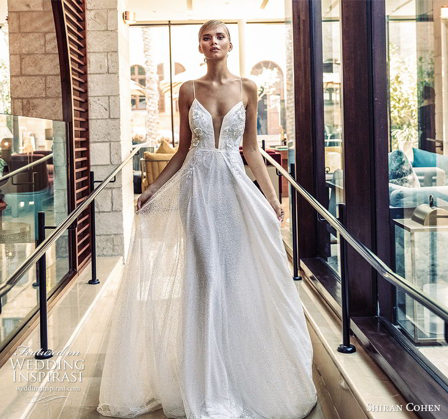 shiran cohen 2019 bridal sleeveless thin straps sweetheart plunging neckline fully embellished a line wedding dress low back romantic glitzy (7) mv