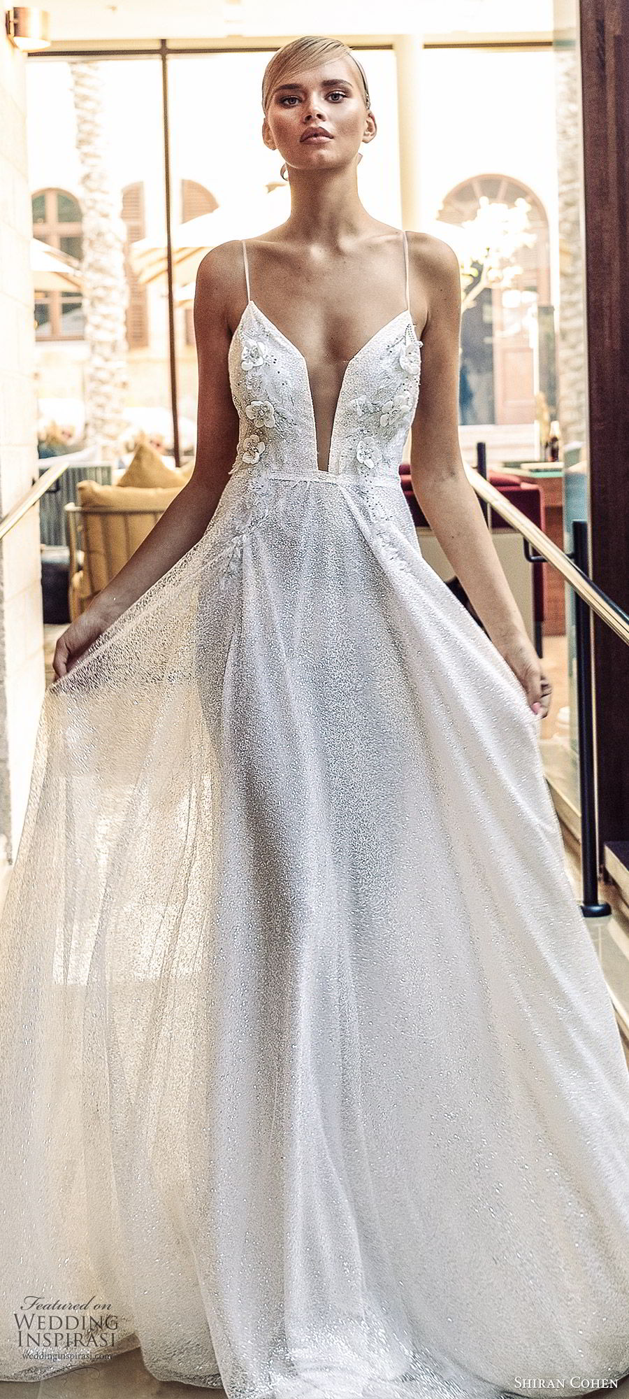 shiran cohen 2019 bridal sleeveless thin straps sweetheart plunging neckline fully embellished a line wedding dress low back romantic glitzy (7) zv