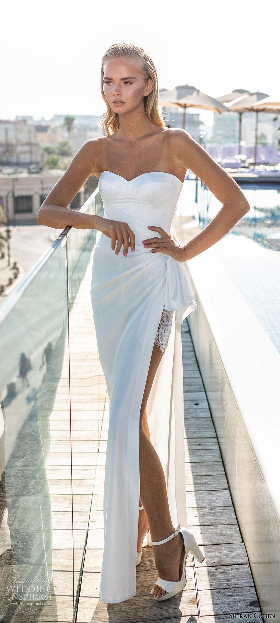 shiran cohen 2019 bridal strapless sweetheart minimally embellished sheath wedding dress side slit clean modern chic (4) lv