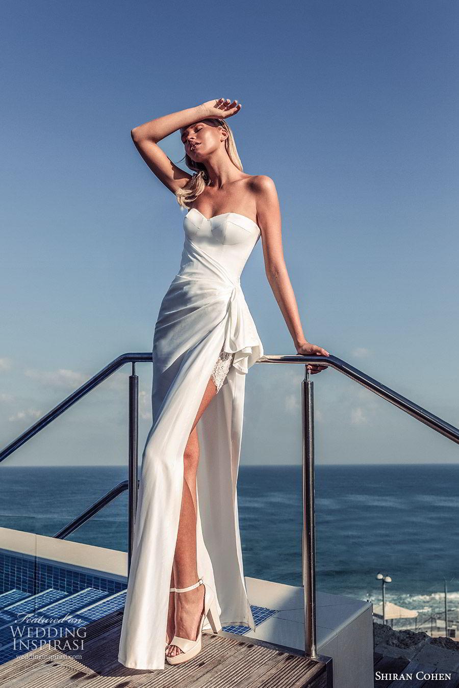 shiran cohen 2019 bridal strapless sweetheart minimally embellished sheath wedding dress side slit clean modern chic (4) mv