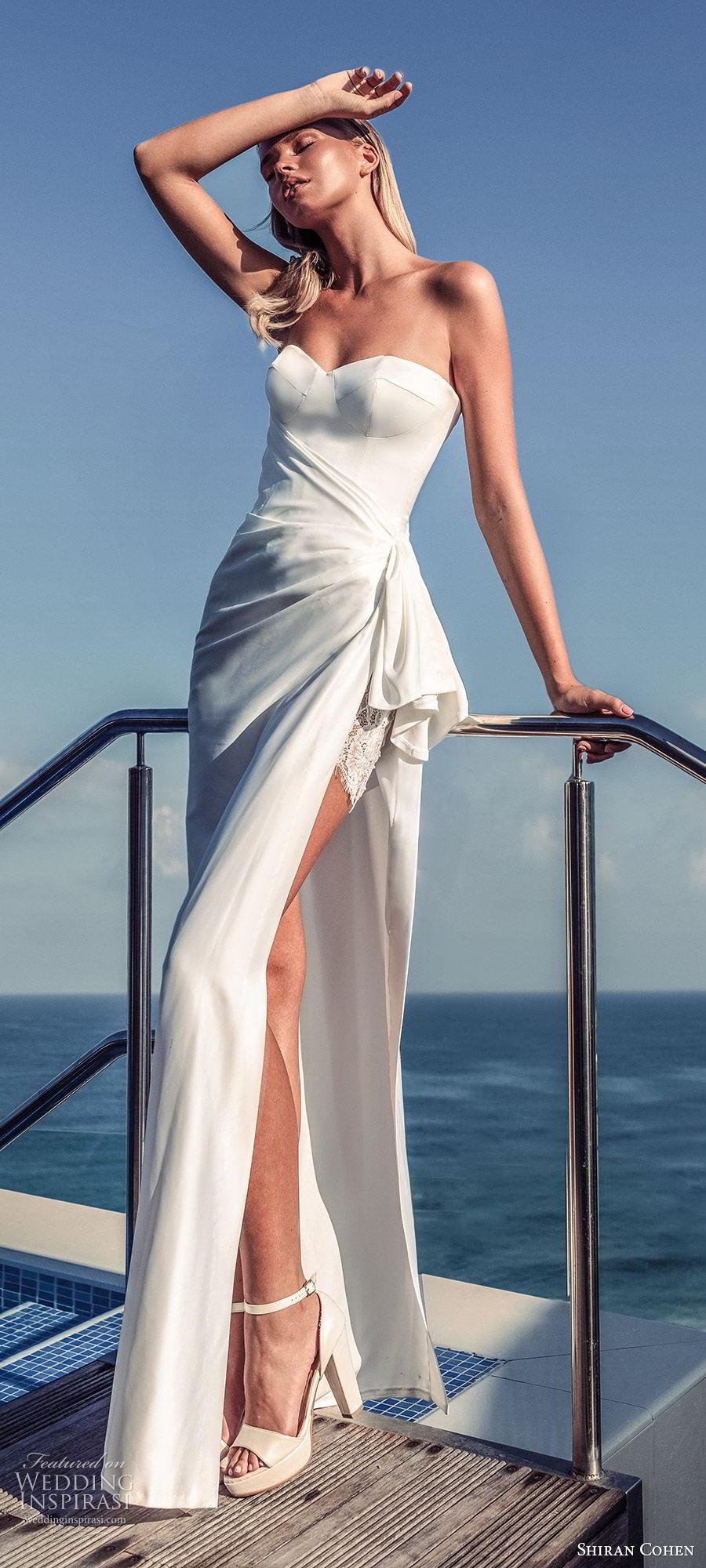 shiran cohen 2019 bridal strapless sweetheart minimally embellished sheath wedding dress side slit clean modern chic (4) zv