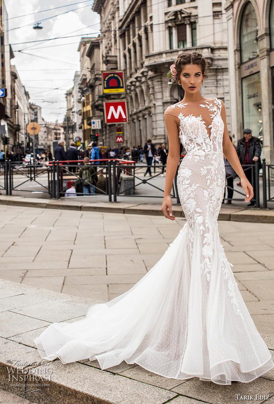 tarik ediz 2019 bridal cap sleeves illusion bateau deep sweetheart neckline heavily embellished bodice elegant mermaid weddding dress keyhole back chapel train (1) mv