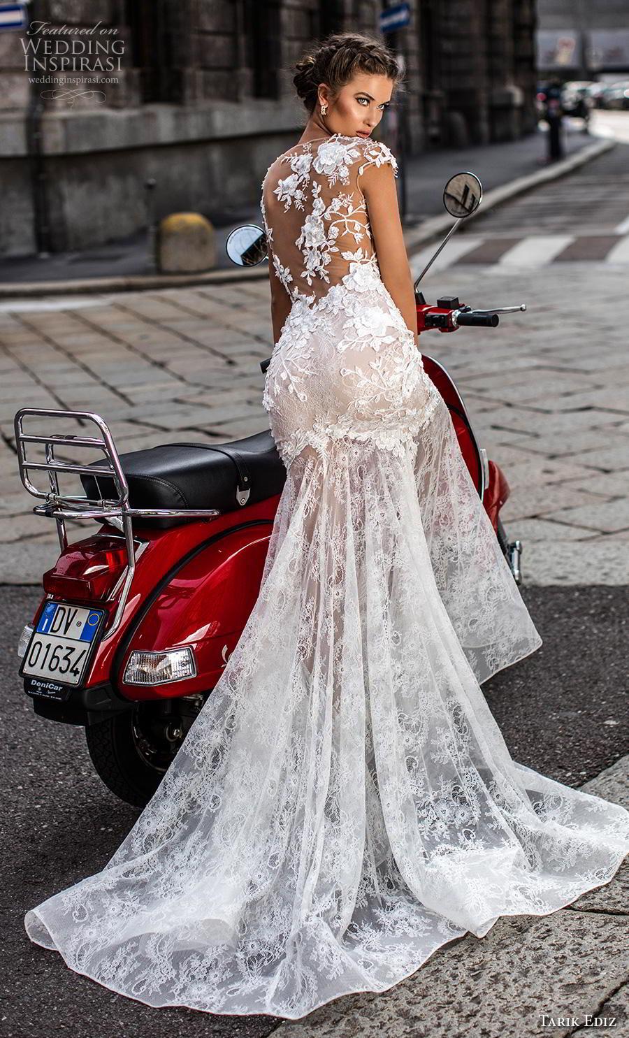 tarik ediz 2019 bridal cap sleeves illusion bateau sweetheart neckline full embellishment elegant mermaid wedding dress sheer lace back chapel train (17) bv