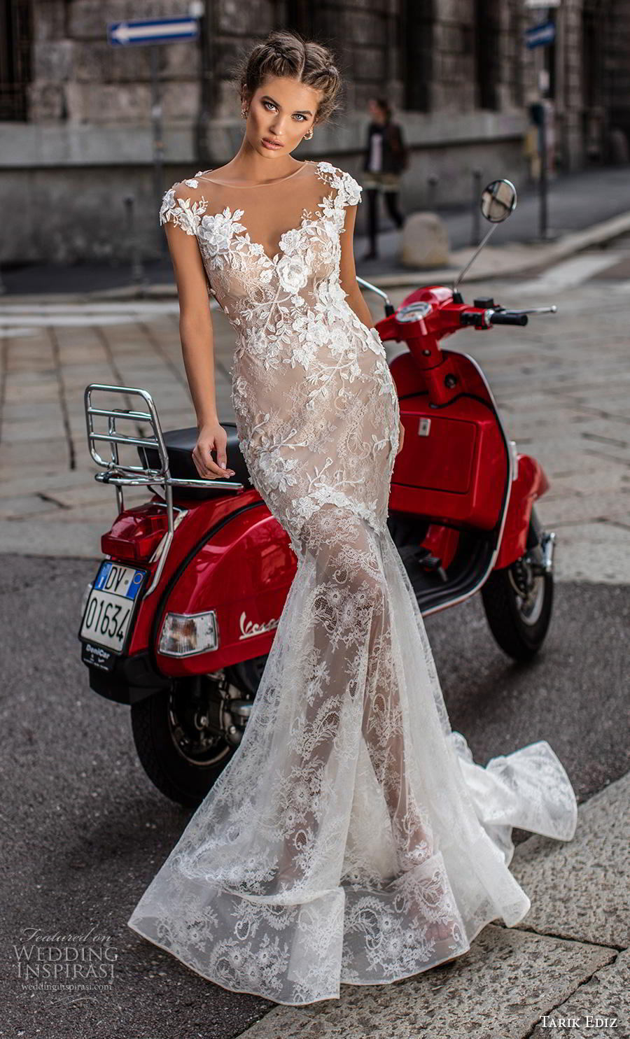tarik ediz 2019 bridal cap sleeves illusion bateau sweetheart neckline full embellishment elegant mermaid wedding dress sheer lace back chapel train (17) mv