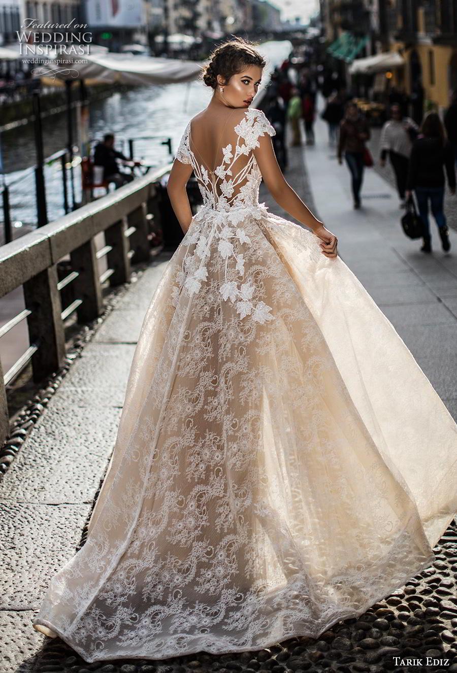 tarik ediz 2019 bridal cap sleeves illusion bateau v neck full embellishment elegant fit and flare wedding dress a  line overskirt mid back chapel train (9) bv