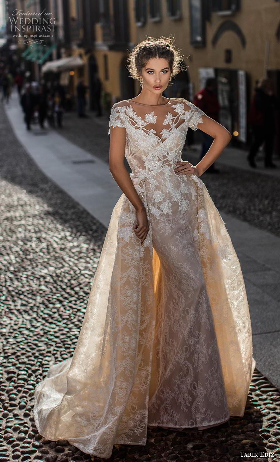 tarik ediz 2019 bridal cap sleeves illusion bateau v neck full embellishment elegant fit and flare wedding dress a  line overskirt mid back chapel train (9) mv