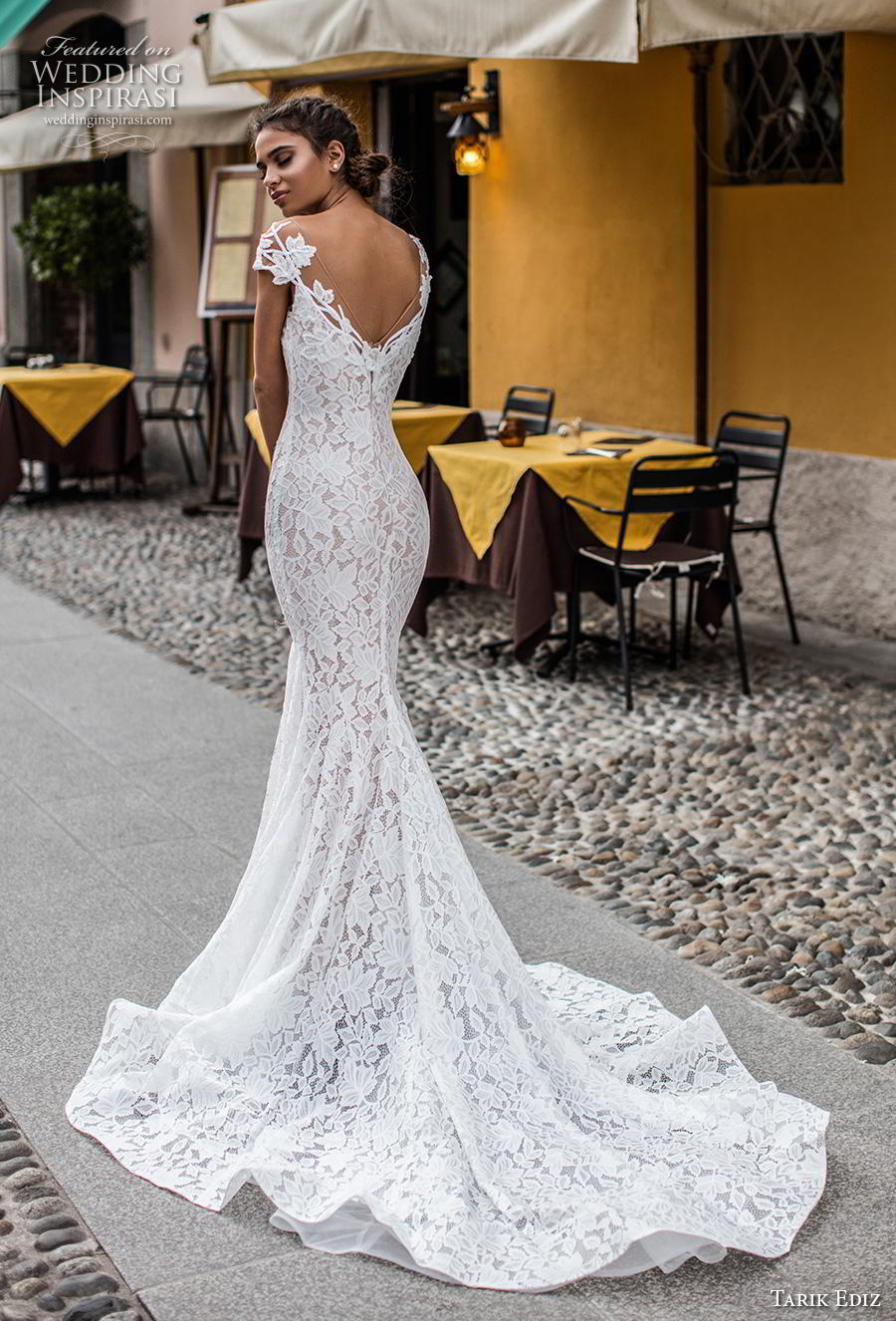 tarik ediz 2019 bridal cap sleeves illusion bateau v neck full embellishment elegant fit and flare wedding dress v back chapel train (12) bv