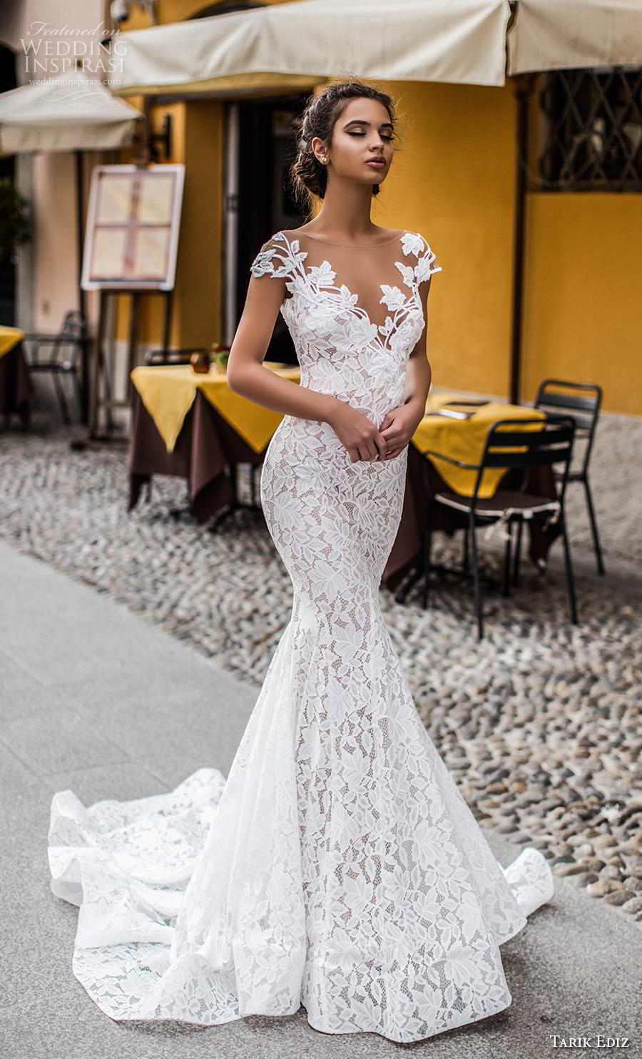 tarik ediz 2019 bridal cap sleeves illusion bateau v neck full embellishment elegant fit and flare wedding dress v back chapel train (12) mv
