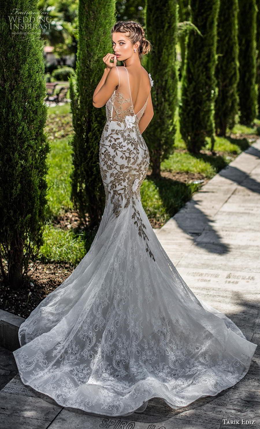 tarik ediz 2019 bridal cap sleeves illusion boat deep plunging sweetheart neckline heavily embellished bodice gold glamorous trumpet wedding dress v back chapel train (10) bv