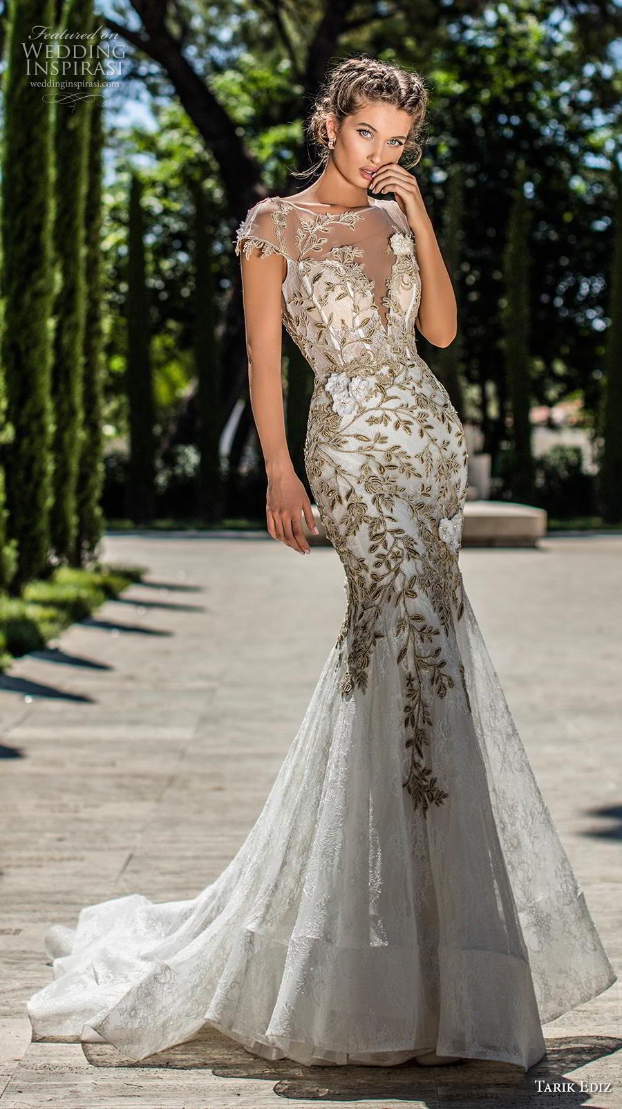 tarik ediz 2019 bridal cap sleeves illusion boat deep plunging sweetheart neckline heavily embellished bodice gold glamorous trumpet wedding dress v back chapel train (10) mv
