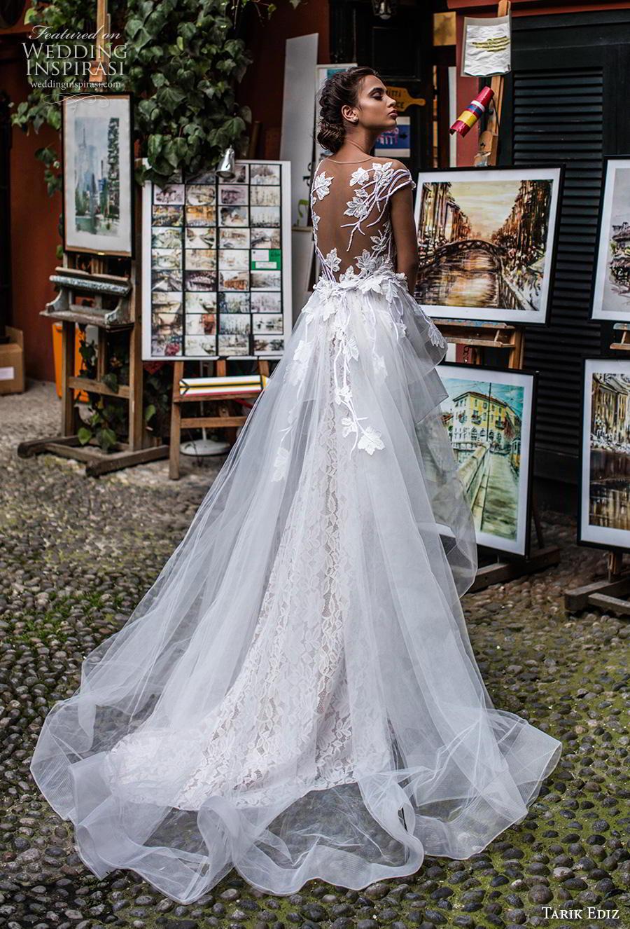 tarik ediz 2019 bridal cap sleeves illusion boat sweetheart neckline full embellishment sheath wedding dress a  line overskirt sheer lace back chapel train (11) bv