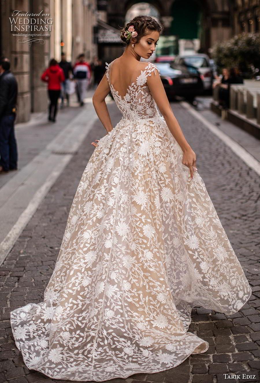 tarik ediz 2019 bridal cap sleeves illusion jewel v neckline full embellishment romantic princess sheath wedding dress a  line overskirt v back chapel train (6) bv