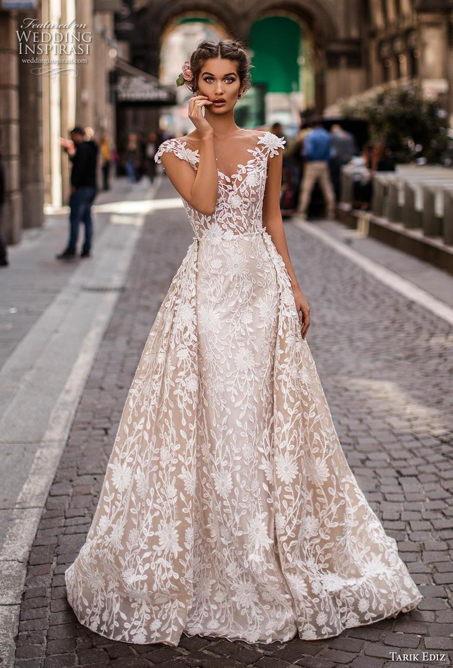 tarik ediz 2019 bridal cap sleeves illusion jewel v neckline full embellishment romantic princess sheath wedding dress a  line overskirt v back chapel train (6) mv