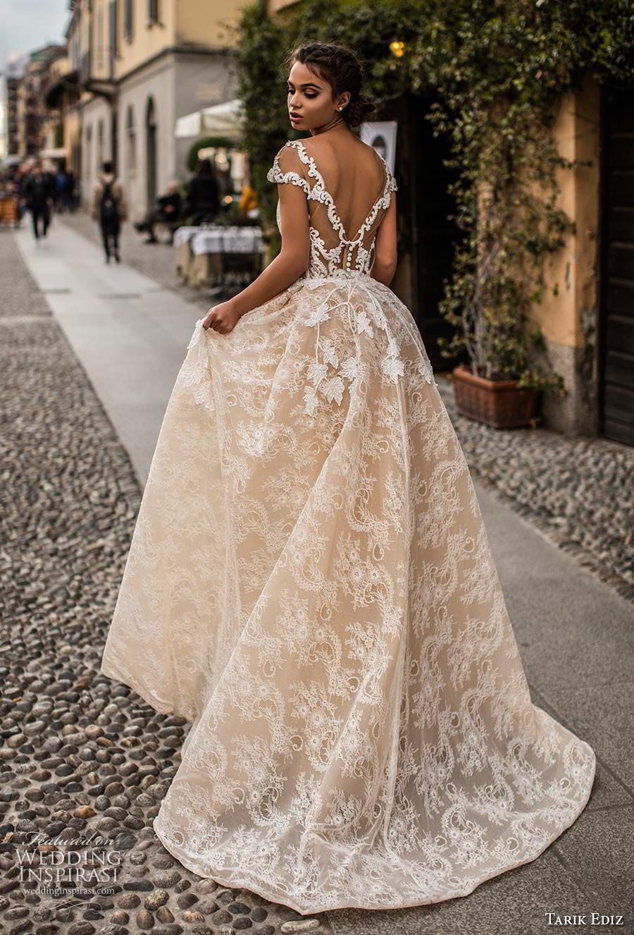 tarik ediz 2019 bridal cap sleeves sheer boat sweetheart neckline full embellishment romantic ivory sheath wedding dress a  line overskirt v back chapel train (23) bv