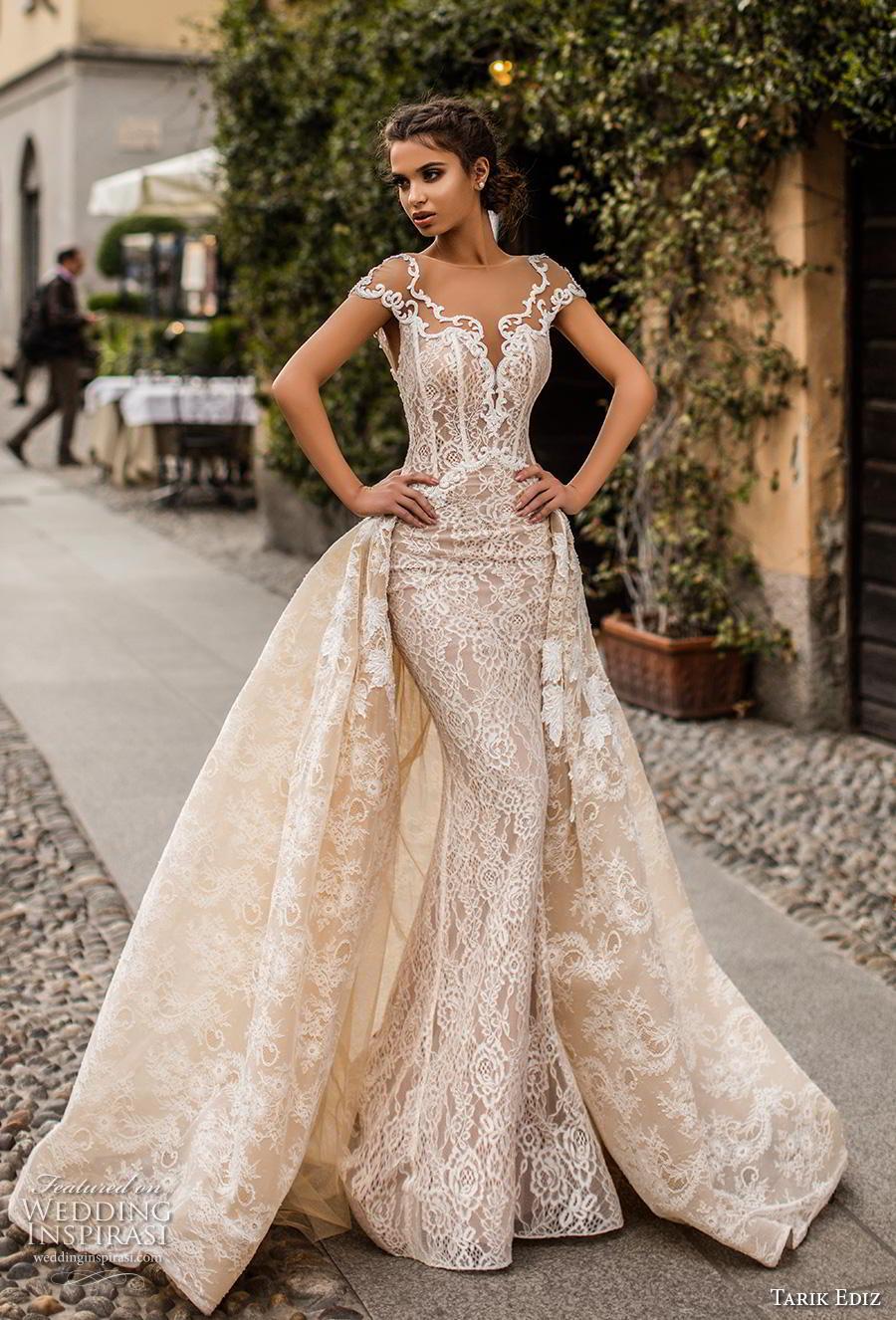 tarik ediz 2019 bridal cap sleeves sheer boat sweetheart neckline full embellishment romantic ivory sheath wedding dress a  line overskirt v back chapel train (23) mv