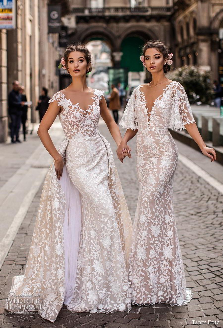 tarik ediz 2019 bridal fit and flare wedding gowns a  line overskirt
