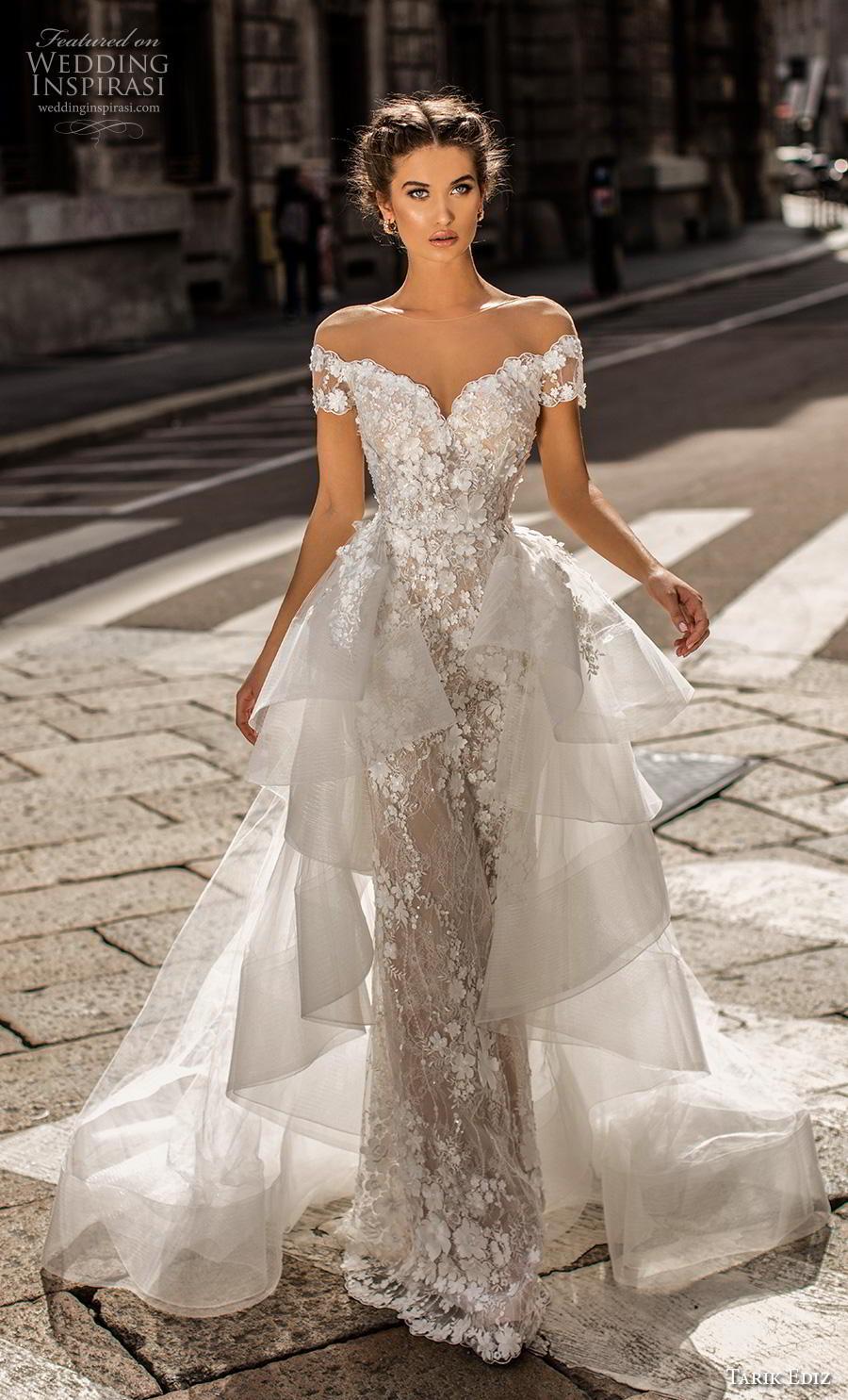 tarik ediz 2019 bridal illusion off the shoulder illusion bateau sweetheart neckline full embellishment romantic sheath wedding dress a  line overskirt chapel train (3) mv