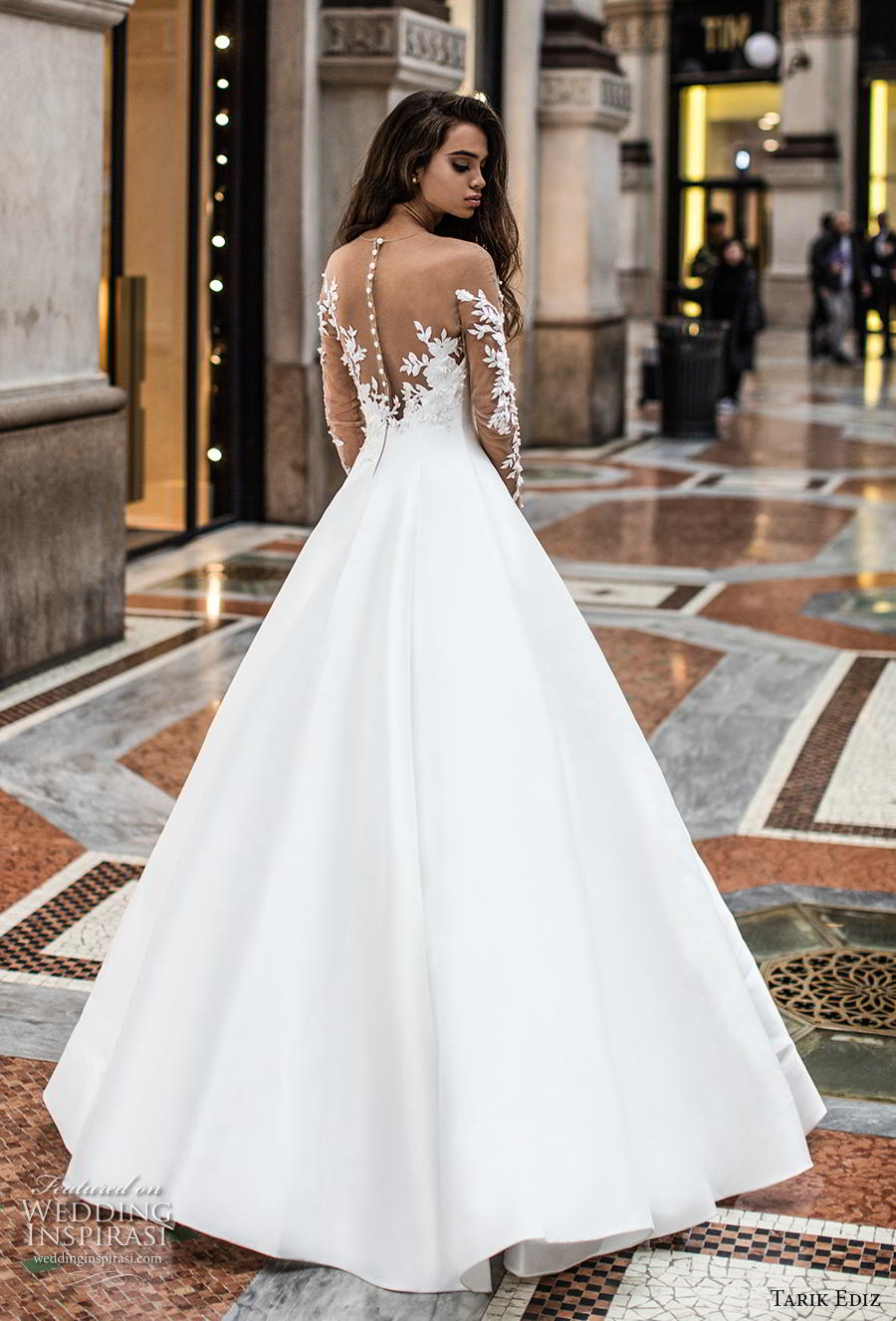 tarik ediz 2019 bridal long lace sleeves sheer bateau deep plunging sweetheart neckline simple minimalist princess a  line wedding dress sheer button back sweep train (14) bv