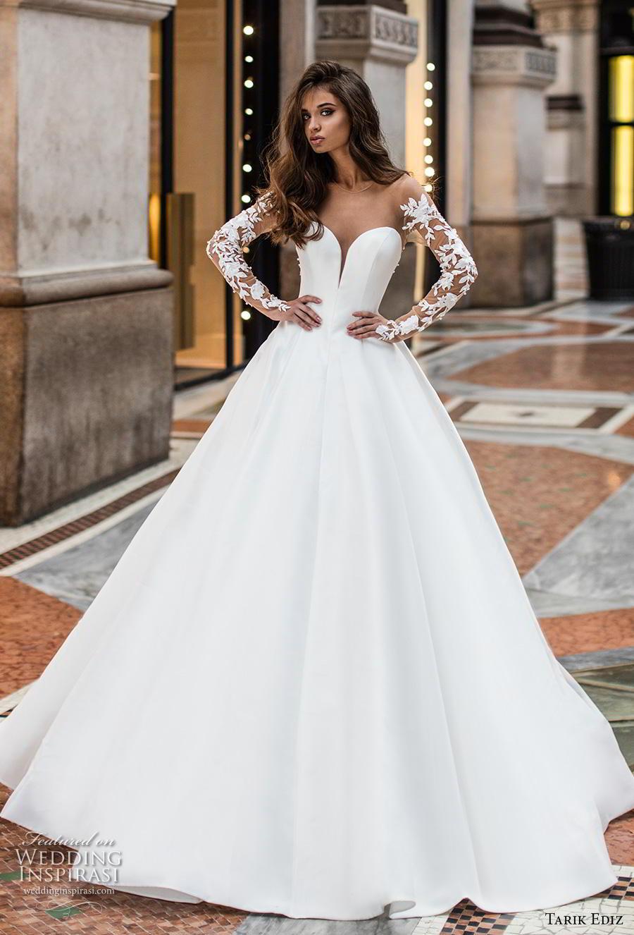 tarik ediz 2019 bridal long lace sleeves sheer bateau deep plunging sweetheart neckline simple minimalist princess a  line wedding dress sheer button back sweep train (14) mv