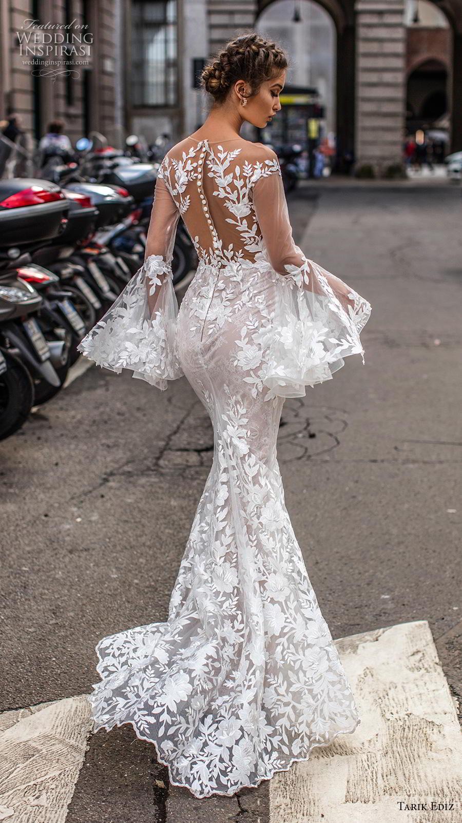 tarik ediz 2019 bridal long lantern sleeves illusion bateau deep sweetheart neckline full embellishment elegant fit and flare wedding dress lace button back sweep back (2) bv