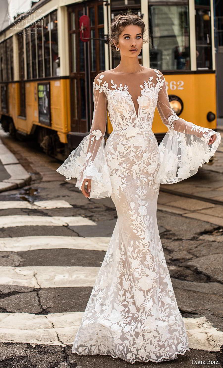 tarik ediz 2019 bridal long lantern sleeves illusion bateau deep sweetheart neckline full embellishment elegant fit and flare wedding dress lace button back sweep back (2) mv